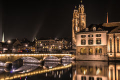 Nacht Zürich Lizenzfreies Stockbild
