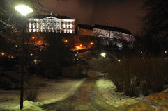 Nachtansicht über alte Stadtstadtparkstraße in Tallinn, Estland Stockbild