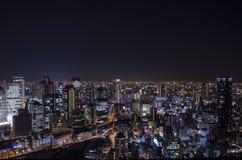 Nachtansicht bei Osaka Japan, auf die Oberseite des Umeda-Himmel-Gebäudes Stockfotos