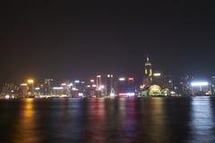 Nachtansicht bei Tsim Sha Tsui Stockfotos
