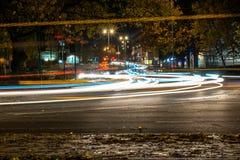 Nachtansicht der BRITISCHEN Autobahn-Landstraße Stockfotografie