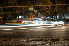 Nachtansicht der BRITISCHEN Autobahn-Landstraße Lizenzfreies Stockfoto
