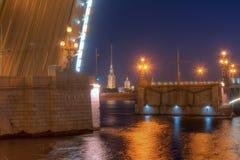 Nachtansicht der Dreiheits-Brücke und des Peter und des Paul Cathedrals Lizenzfreie Stockfotos