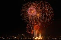 Nachtansicht der Feuerwerke Lizenzfreie Stockfotos