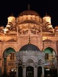 Nachtansicht der neuen Moschee, Istanbul, die Türkei Stockfotos