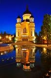 Nachtansicht der orthodoxen Kathedrale von Klausenburg Napoca Stockbild