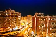 Nachtansicht der Stadt 3d übertragen Abbildung moskau Stockfotografie