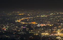 Nachtansicht an der Stadt-Landschaft Lizenzfreies Stockfoto