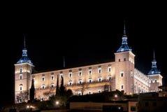 Nachtansicht des Alcazar in Toledo, Kastilien La Mancha, Spanien Lizenzfreie Stockfotografie