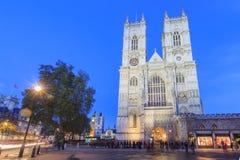 Nachtansicht des berühmten Westminster Abbey, London, vereinigter König Stockfoto