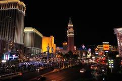 Nachtansicht des Las- Vegasstreifens Stockfoto