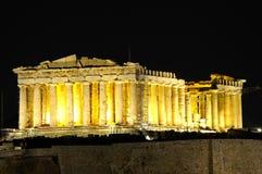 Nachtansicht des Parthenons Stockbilder