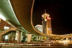 Nachtansicht des SHANGHAIS, CHINA lizenzfreies stockbild