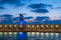 Nachtansicht des TLV-Hafens lizenzfreie stockbilder