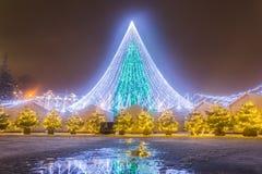 Nachtansicht des Weihnachtsbaums in Vilnius, Litauen lizenzfreies stockfoto
