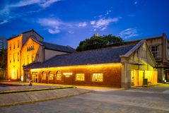 Nachtansicht kreativen Parks Huashan 1914 in Taipeh, Taiwan Lizenzfreies Stockfoto