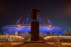 Nachtansicht neuen Stadions Fußball Zenit-Arena in St. Petersbur lizenzfreies stockbild