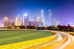 Nachtansicht neuer Stadt Guangzhous Pearl River Stockfotografie