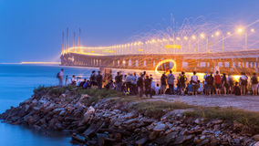 Nachtansicht 2. Penang-Brücke, George Town Penang Lizenzfreie Stockbilder