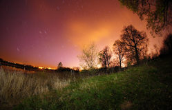Nachtansicht vom Strand Stockfotografie