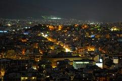 Nachtansicht von Athen Stockfotos