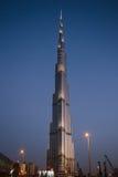 Nachtansicht von Burj Khalifa in Dubai, UAE Stockfotografie