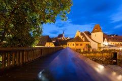 Nachtansicht von Cesky Krumlov, Tschechische Republik lizenzfreie stockfotografie