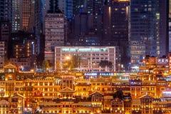 Nachtansicht von Chongqing-hongya Höhle c lizenzfreie stockfotos