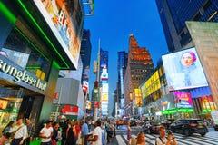 Nachtansicht von den Zeiten Quadrat-zentral und Hauptplatz von New York lizenzfreie stockbilder