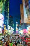 Nachtansicht von den Zeiten Quadrat-zentral und Hauptplatz von New York stockbild