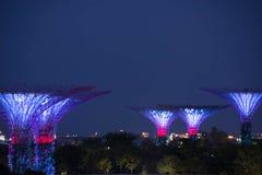 Nachtansicht von Gärten durch die langsame Fensterladenunschärfe der Bucht Lizenzfreie Stockfotos