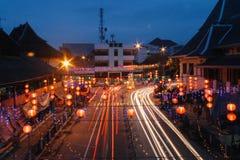 Nachtansicht von Gede Market Area Stockfoto