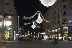 Nachtansicht von Graben-Straße in Wien Lizenzfreie Stockfotos