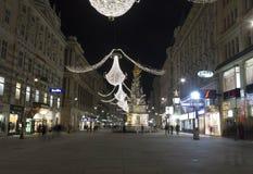 Nachtansicht von Graben-Straße in Wien in der Nacht Lizenzfreies Stockbild