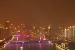 Nachtansicht von Guangzhou China lizenzfreies stockbild