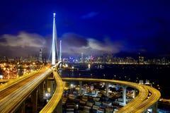 Nachtansicht von Hong Kong stockbild