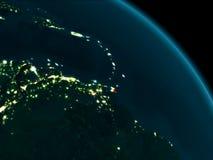 Nachtansicht von Karibischen Meeren auf Erde lizenzfreie stockbilder