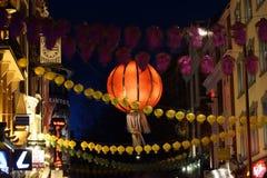 Nachtansicht von London Chinatown, Chinesisches Neujahrsfest Eve Stockbild