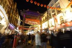 Nachtansicht von London Chinatown, Chinesisches Neujahrsfest Eve Lizenzfreie Stockbilder