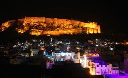 Nachtansicht von Mehrangarh-Fort in Jodhpur, Rajasthan Lizenzfreies Stockbild