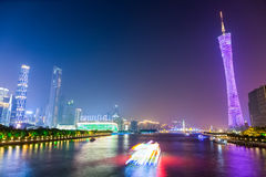 Nachtansicht von Pearl River in Guangzhou Stockbilder