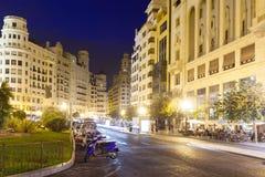 Nachtansicht von Placa Del Ajuntament. Valencia Stockfotos