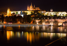 Nachtansicht von Prag Lizenzfreies Stockfoto