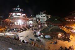 Nachtansicht von Quadrat Kathmandus Durbar während des Festivals Lizenzfreie Stockfotos