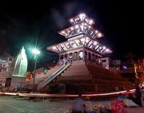 Nachtansicht von Quadrat Kathmandus Durbar während des Festivals Stockbilder
