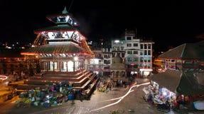 Nachtansicht von Quadrat Kathmandus Durbar während des Festivals Lizenzfreies Stockbild