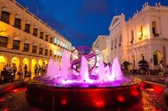 Nachtansicht von Senado-Quadrat, Macau, China Stockbild