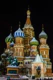 Nachtansicht von St. Basil Cathedral Stockfotos