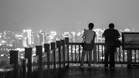 Nachtansicht von Taichungs-Stadt stockbild