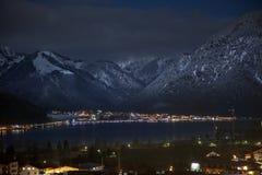 Nachtansichten von Achensee und von Pertisau von Maurach, Österreich Lizenzfreies Stockbild